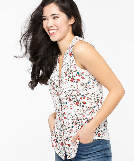 Sleeveless Button Placket Henley Blouse, Pearl/Chili/Moss, hi-res