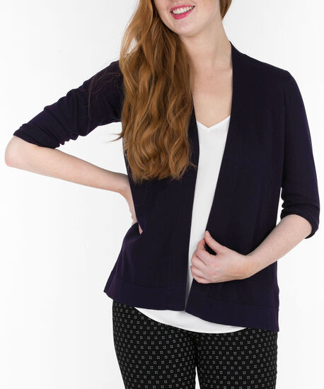 Cinch-Back Open Cardigan, Deep Purple, hi-res