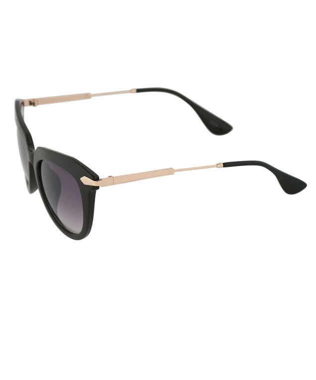 Gold Arm Cateye Sunglasses, Black/Gold, hi-res