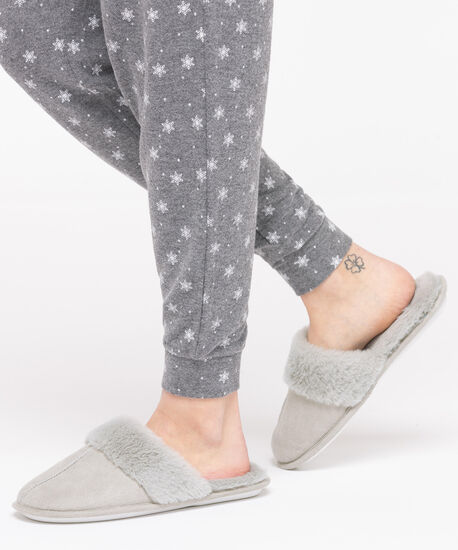 Faux Fur Microsuede Slipper, Grey, hi-res