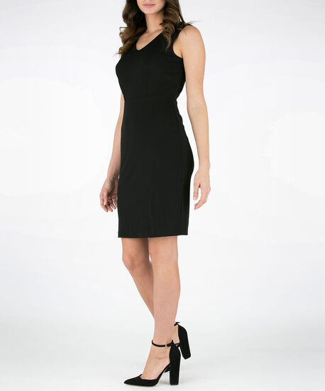 Double-V Crepe Sheath Dress, Black, hi-res