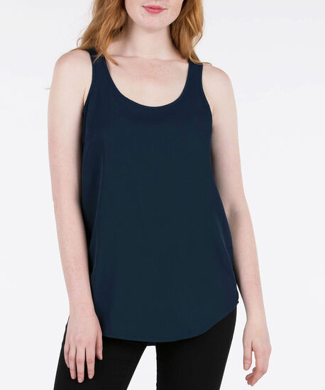 SCOOP NECK WOVEN LAYERING CAMI, Steel Blue, hi-res