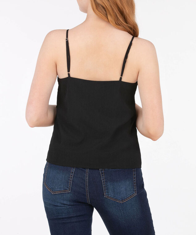 Sleeveless Strappy Spliced Blouse, Black, hi-res