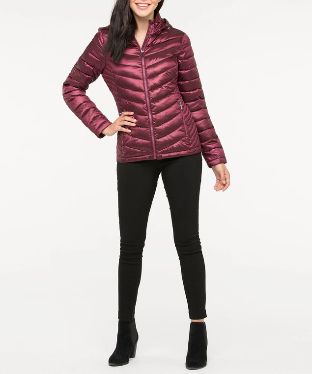 Chevron Packable Short Puffer Jacket, Burgundy, hi-res