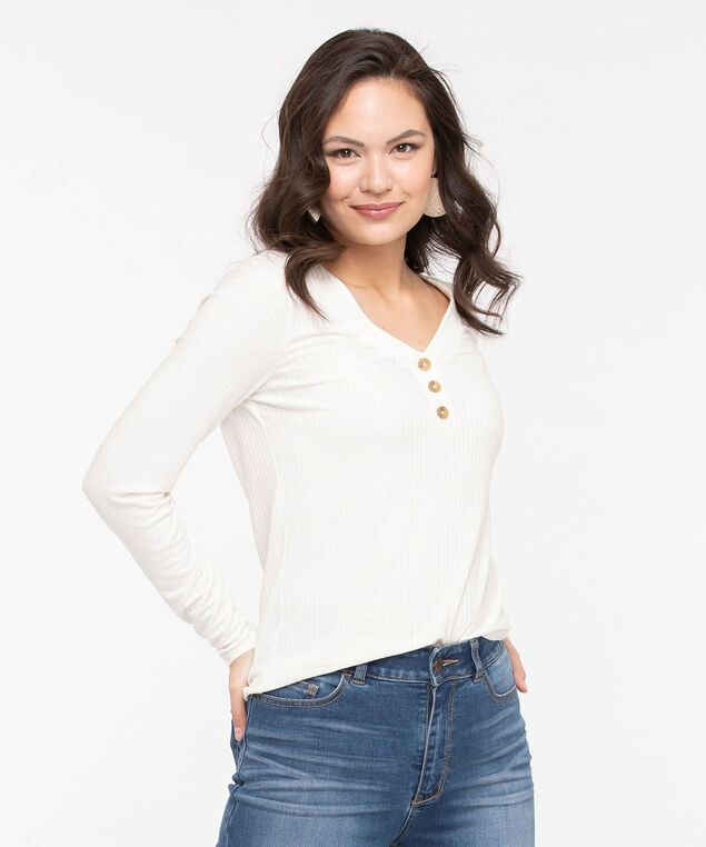 Long Sleeve Ribbed V-Neck Top, Pearl, hi-res