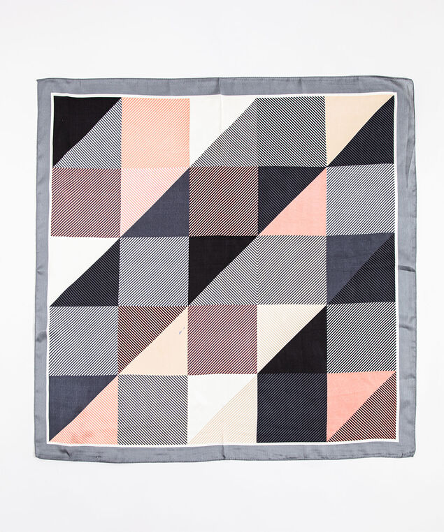 Multi Graphic Print Square Scarf, Grey/White/Pink/Black