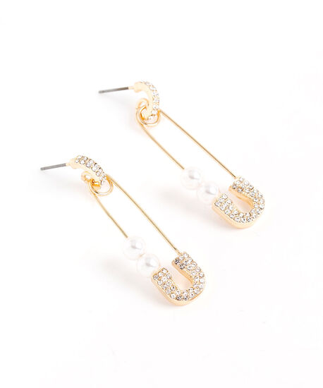 Pearl & Crystal Safety Pin Earring, Gold, hi-res