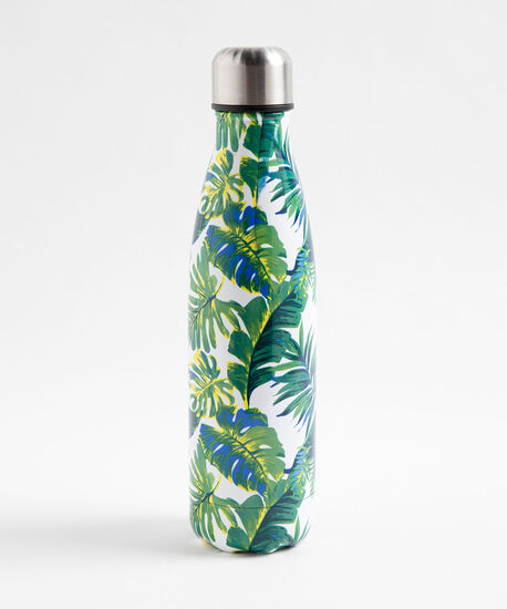 Patterned Insulated Water Bottle, Palm Fronds, hi-res