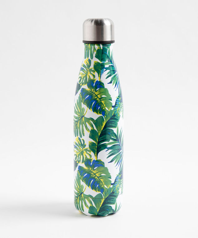 Patterned Insulated Water Bottle, Palm Fronds