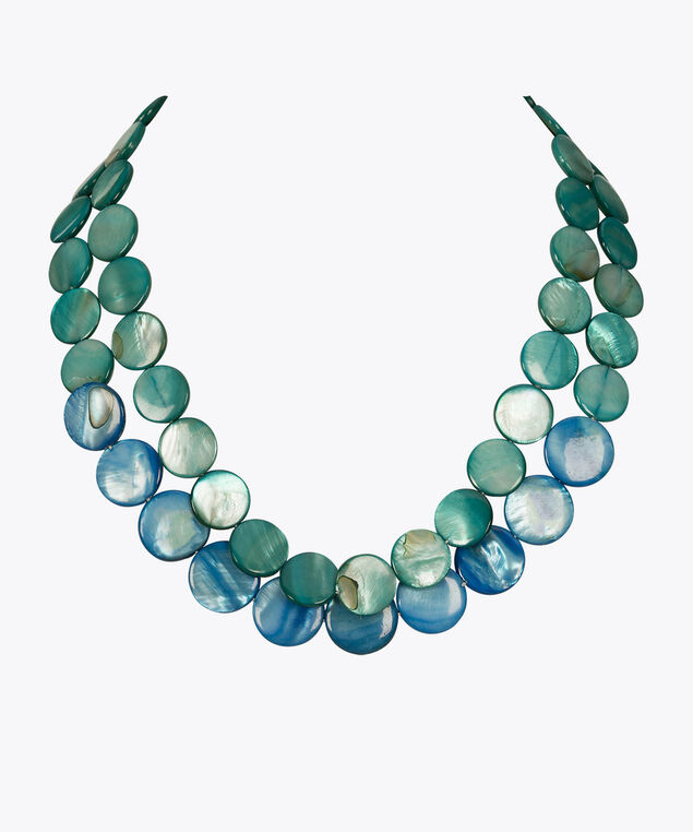 Double Strand Shell Statement Necklace, Blue/Aqua, hi-res