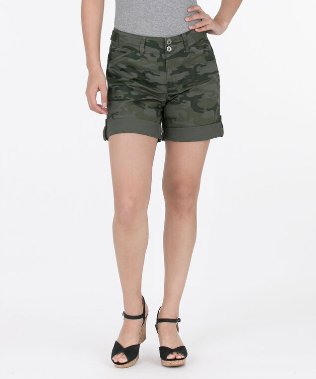 Washed Twill Roll-Cuff Short, Olive/Jade, hi-res