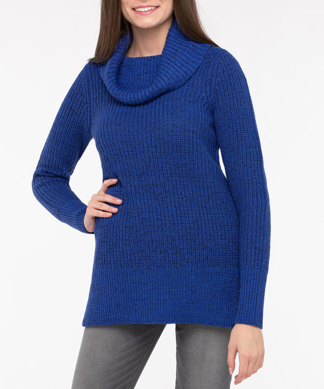 Colour Mix Cowl Neck Sweater, Bright Blue/Black Mix, hi-res