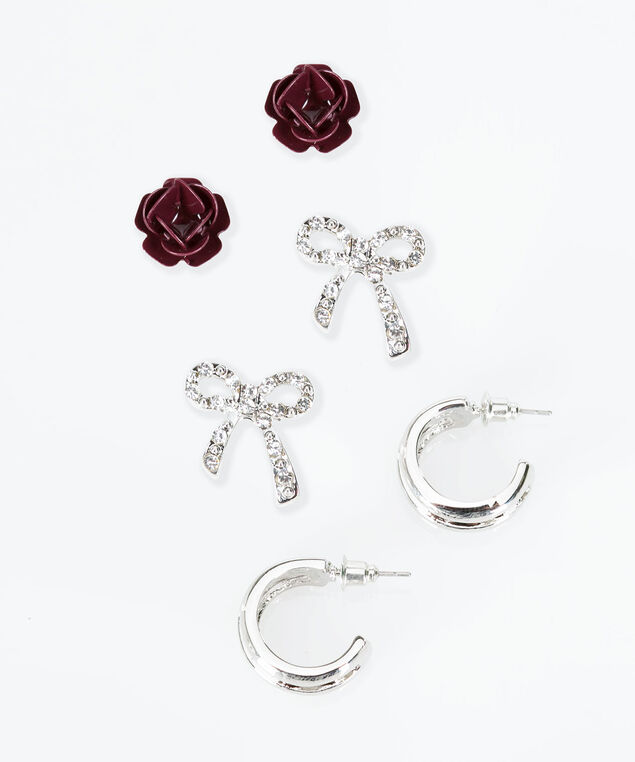 Trio Earring Set, Burgundy/Rhodium, hi-res