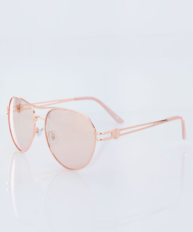 Cut-Out Detail Aviator Sunglasses, Rose Gold, hi-res