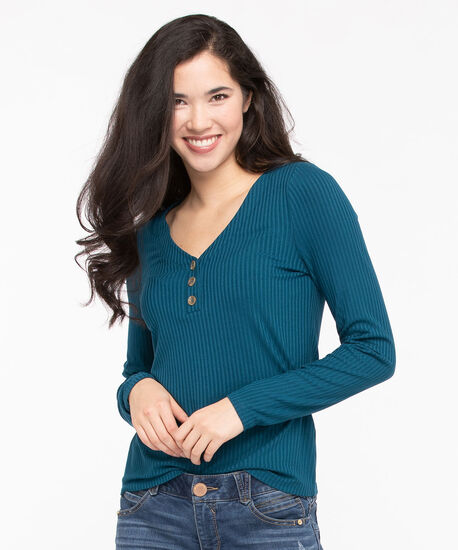 Long Sleeve Ribbed V-Neck Top, Midnight Teal, hi-res
