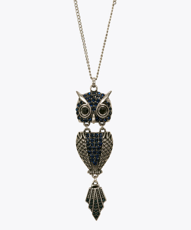 Crystal Owl Pendant Necklace, Ink Blue/Rhodium, hi-res