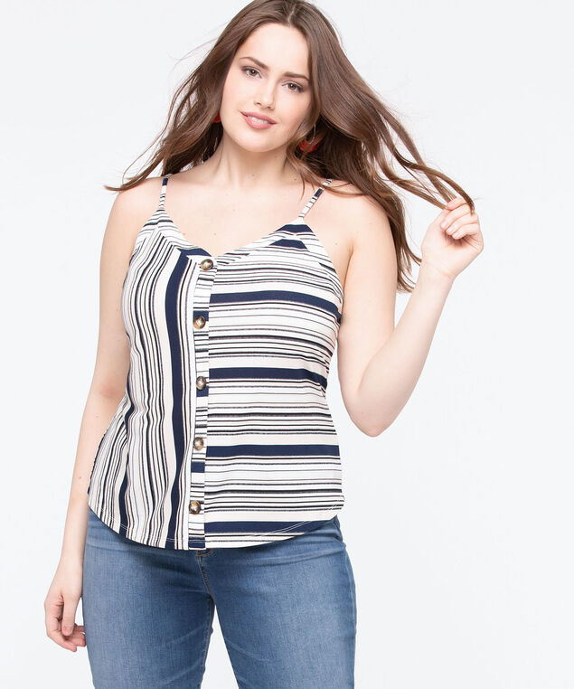 Sleeveless Striped Button Front Top, Off White/Navy/Sand, hi-res