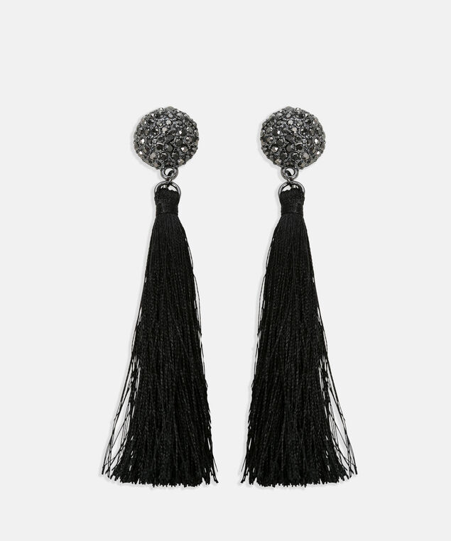 Faceted Stone & Tassel Earring, Black/Hematite, hi-res