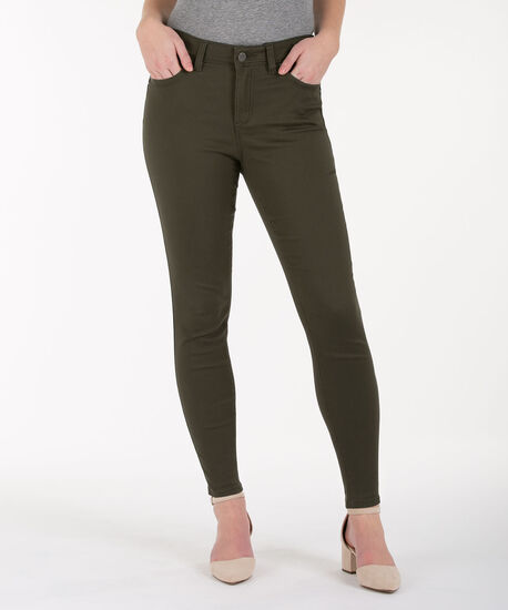 Fly-Front Ankle Jegging, Olive, hi-res