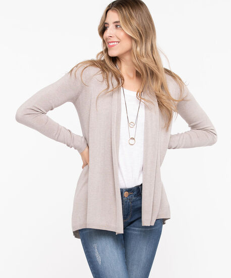 Long Curved Hem Open Cardigan, Stone, hi-res