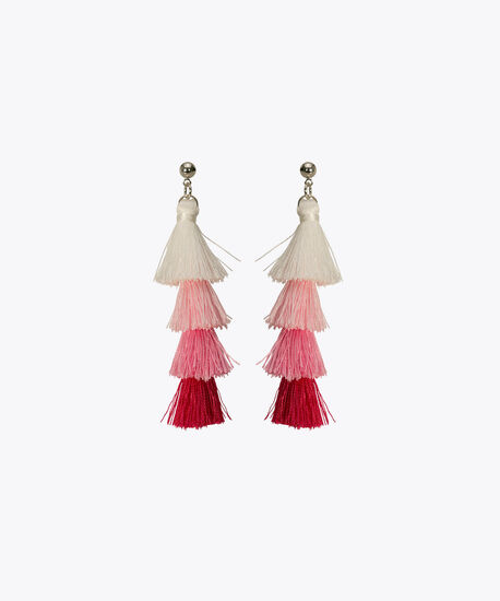 Tiered Tassel Earring, Pastel Pink/Hot Pink, hi-res