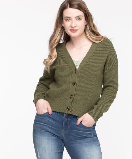 Ribbed Knit Button Front Cardigan, Forest Night, hi-res