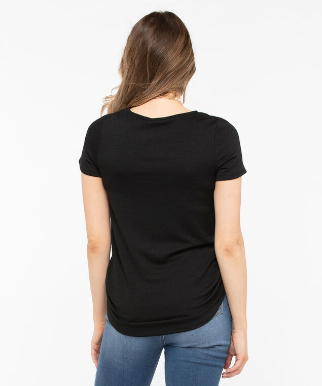 Short Sleeve Lightweight Knit Top, Black, hi-res