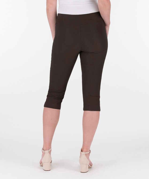 Microtwill Pull-On Capri, Brown, hi-res