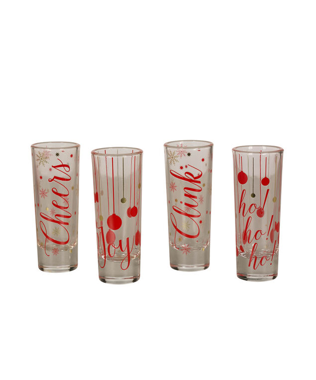 Holiday Shot Glass Set, Red/Gold/Clear, hi-res