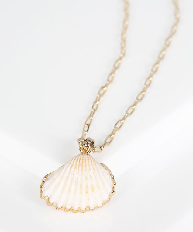 Seashell Pendant Necklace, Gold/Pearl, hi-res