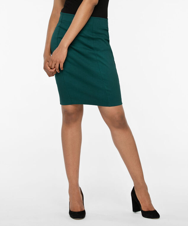 Microtwill Pull On Pencil Skirt, Ivy, hi-res