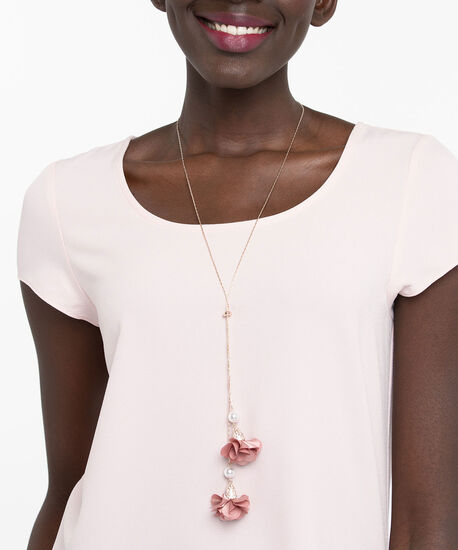 Adjustable Lariat Flower Necklace, Dusty Blush/Rose Gold, hi-res