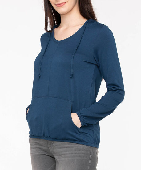 Long Sleeve Bubble Hem Hoodie, Midnight Blue, hi-res