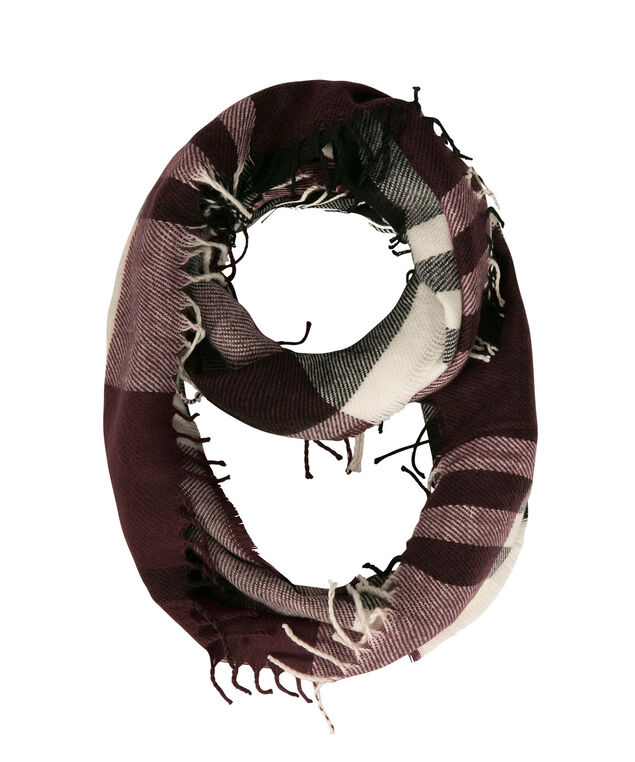 Plaid Eternity Scarf, Wine/Black/Milkshake, hi-res