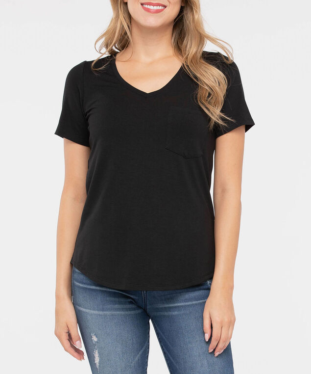 Basic V-Neck Pocket Tee, Black, hi-res