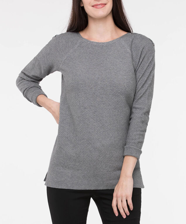 Lace Up Shoulder Boatneck Sweater, Mid Heather Grey, hi-res