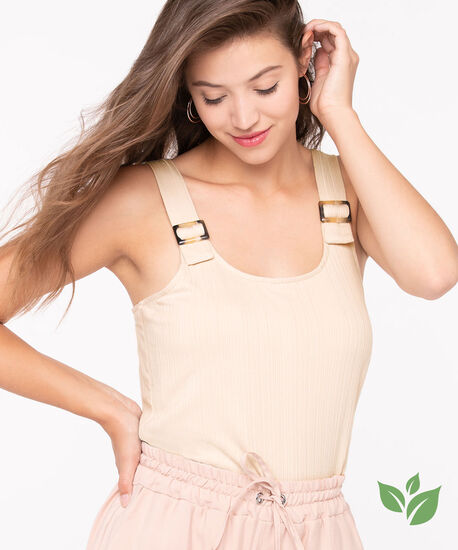 EcoVero™ Sleeveless Buckle Top, Sand, hi-res