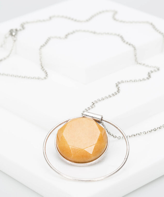 Faceted Stone & Ring Necklace, Mustard/Rhodium, hi-res
