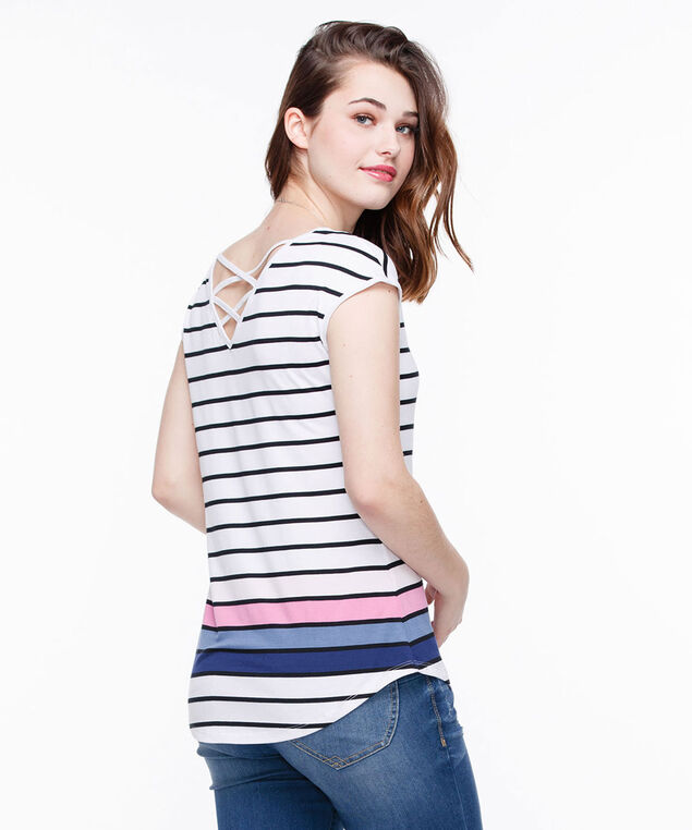 Cross Back Extended Sleeve Top, White/Black/Pink/Blue, hi-res