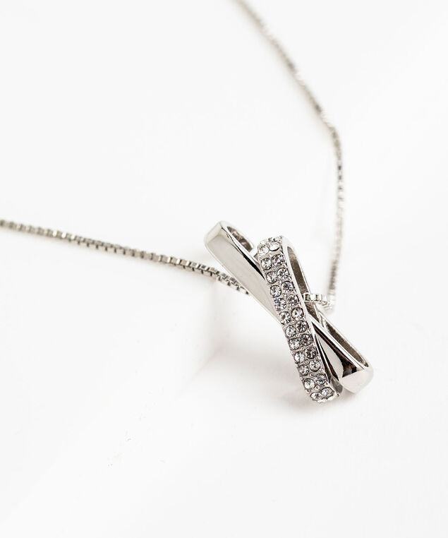 Silver Crossed Pendant Necklace, Silver