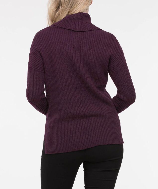 Asymmetrical Ribbed Cowl Neck Sweater, Burgundy, hi-res