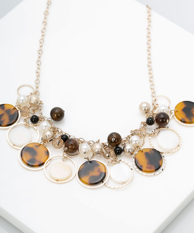 Resin and Pearl Statement Necklace, Brown