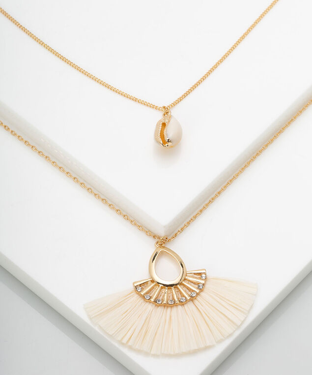 Raffia Fan & Puka Shell Necklace, Ivory/Gold