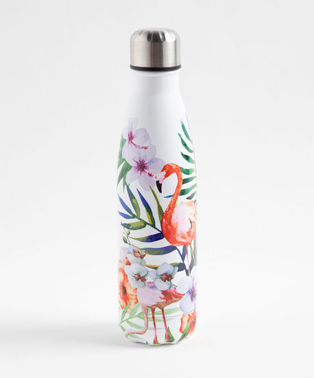 Patterned Insulated Water Bottle, Flamingo, hi-res