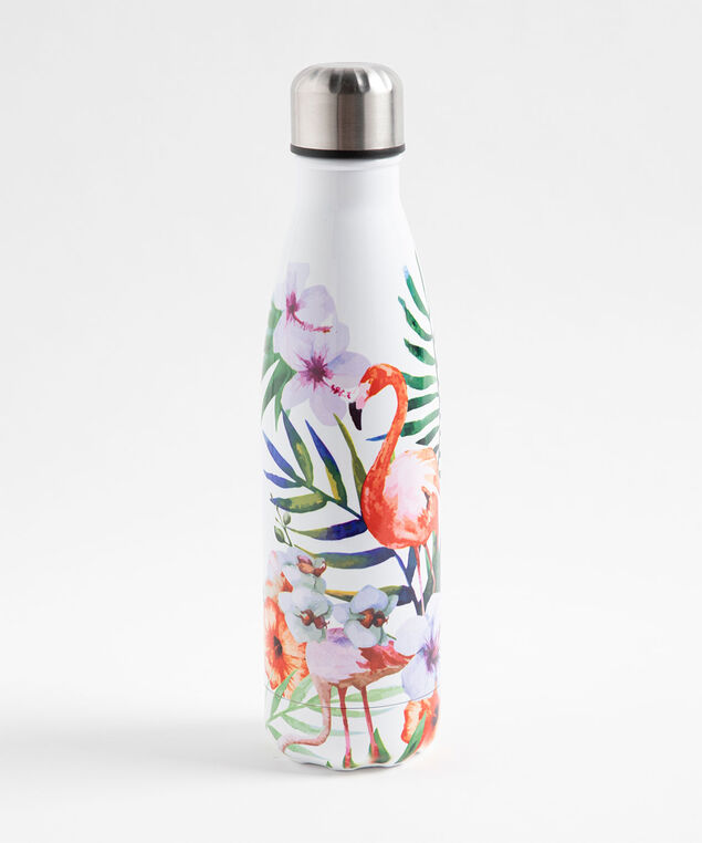 Patterned Insulated Water Bottle, Flamingo