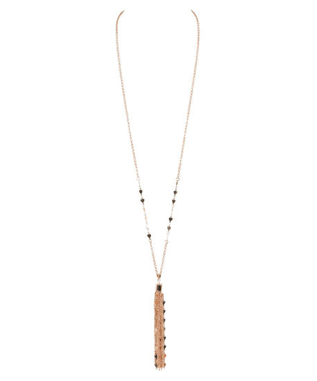 Heart Tassel Pendant Necklace, Soft Rose Gold, hi-res