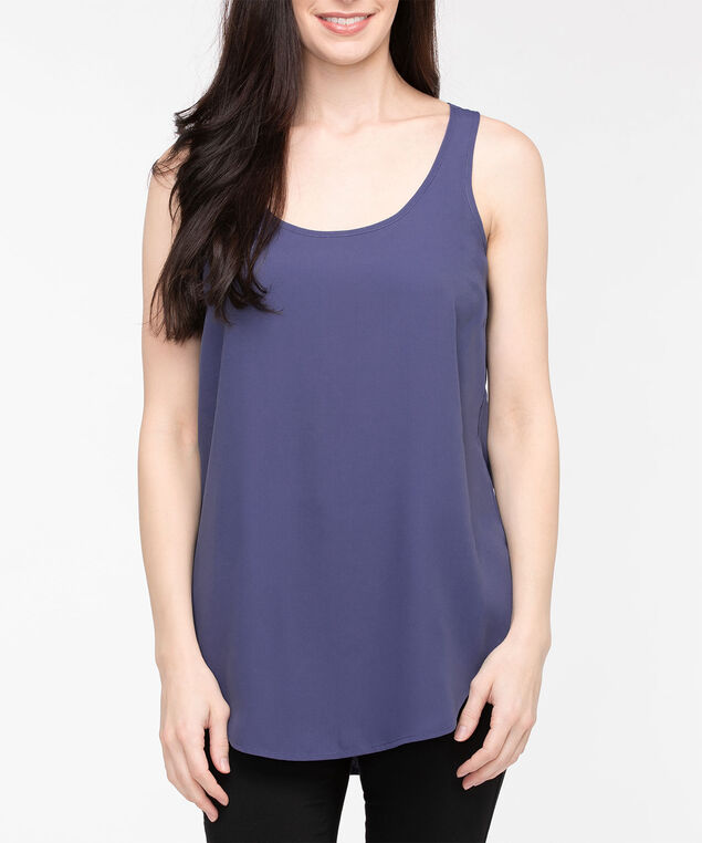 Scoop Neck Woven Layering Cami, Blue Fog, hi-res