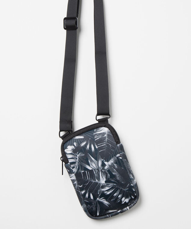 Tropical Cross Body Travel Bag, Black/True White, hi-res
