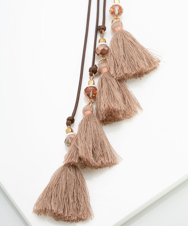Faceted Bead & Tassel Layered Necklace, Brown/Gold/Dusty Rose, hi-res