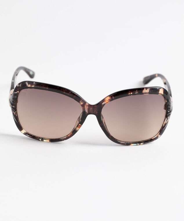 Black Havana Square Sunglasses, Black/Gold, hi-res